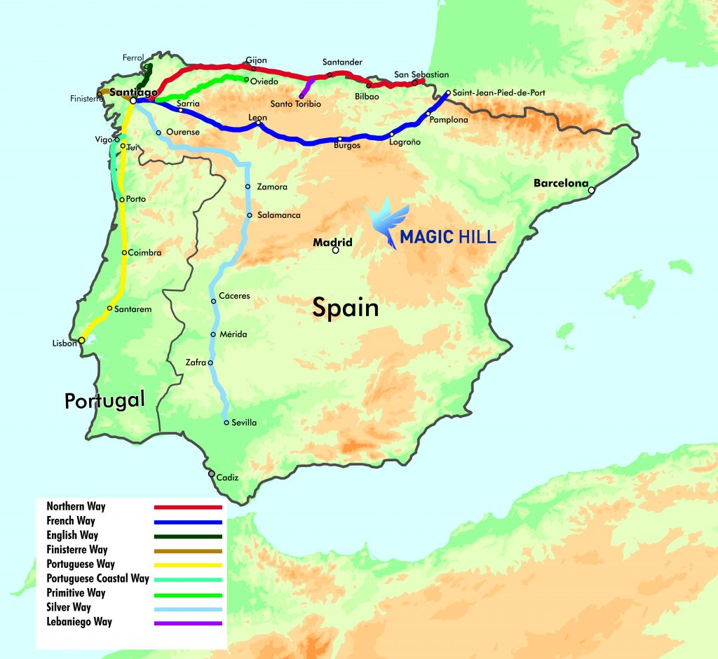 Camino Walk Spain Map.Camino Routes In Spain Www Naturalrugs Store