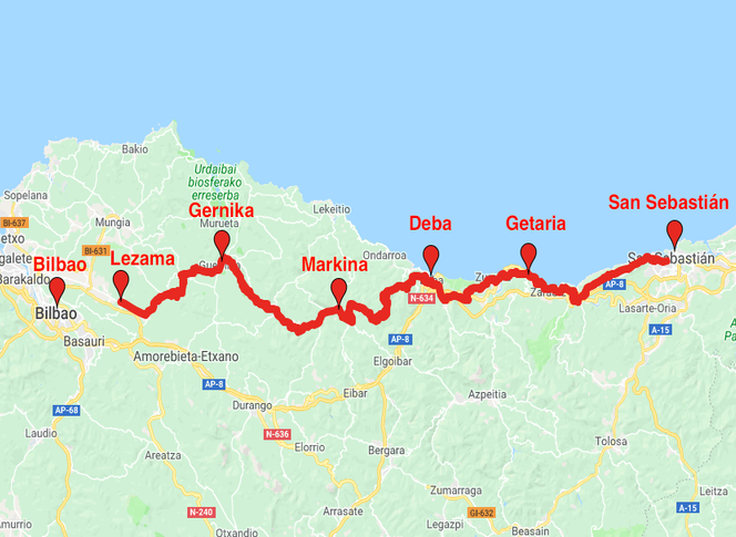 Spain - Northern Way - San Sebastian - Bilbao | Magic Hill ... on map of roubaix, map of evreux, map of singapore, map of lyon, map of newport, map of bandol, map of baracoa, map of glasgow, map of deauville, map of basques, map of porto, map of digne les bains, map of barcelona, map of mumbai, map of basel, map of europe, map of carmel-by-the-sea, map of palma de mallorca, map of toronto, map of bilbao,